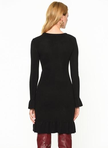 0762eaa275446 ... Su Moda Uzun Kollu Dar Elbise Siyah